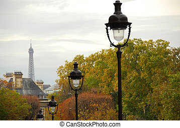 Paris street - Street in Paris France with lightposts on...