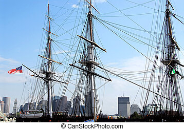 USS Constitution - Masts of USS Constitution with Boston...