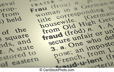 Fraud - the word fraud from the dictionary showing a shallow...