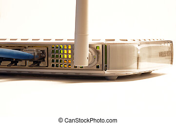 Wireless Router - wireless router isolated against a white...