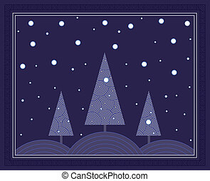 Night Winter Scene - Snow falling onto a landscape of pine...