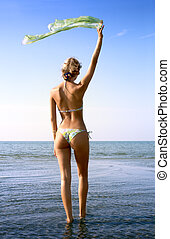 blond with green scarf - pretty blond in bikini with green...