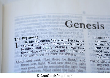 In the beginning - first page of genesis in the bible