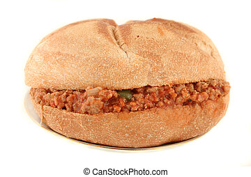 sloppy hamburger - hamburger sloppy joe in sauce inside a...