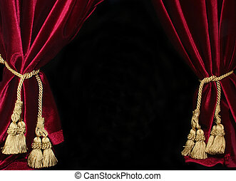 Drapes - Black Background With Red Velvet Drapes and Gold...