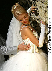 Newly-married couple - The beautiful bride and hand of the...