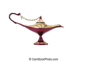 Oil Lamp - Old Oil Lamp From The Middle East Isolated on...
