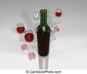 Redwine bottle rendered on semi reflective surface