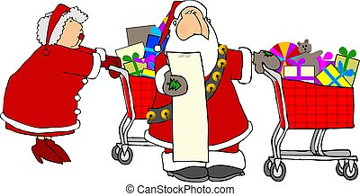 Claus shopping - This illustration depicts Santa and Mrs...