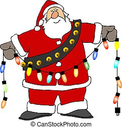 Santa lights - This illustration depicts Santa holding a...