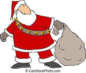 Santas gifts - This illustration depicts Santa pulling a...