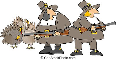 Turkey hunt - This illustration depicts two American...