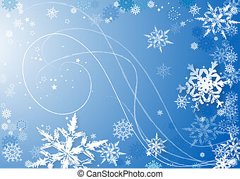 snowflakes dance - blue abstract background