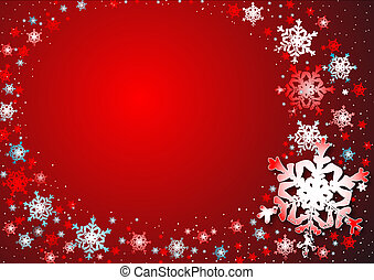 snowflakes dance - red abstact background