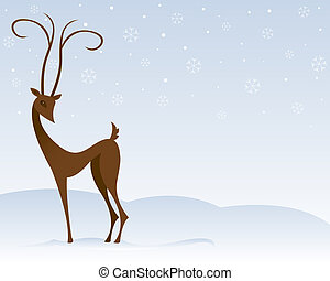 Reindeer in the Snow - Stylized reindeer stands in the snow,...