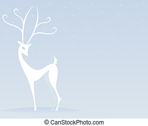 Reindeer in White - Stylized white reindeer stands outside...