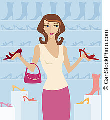 Shoe Shopping - Woman shopping in a boutique, surrounded by...
