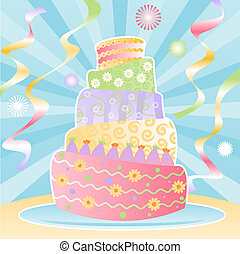 Ultimate Birthday Cake - Five-tier birthday cake decorated...