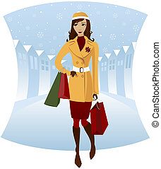 Winter Shopping - Stylish woman shopping downtown in the...