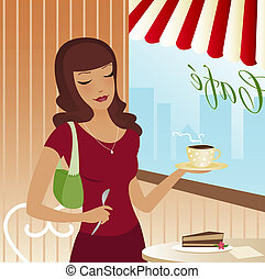 Cafe Scene - Woman in a cute cafe with pie and coffee
