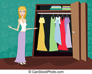 Closet of Clothes - Blonde - Woman looking through her...