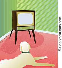 Dog Watching Retro TV - Big, fluffy dog on floor in front of...