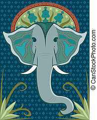 Elephant Patterned - Asian-inspired elephant head adorned...