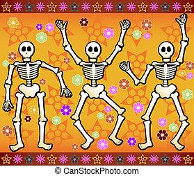 Festive Skeletons - Three festive skeletons jump and dance...