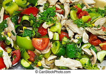 Chicken salad with fresh bright colored vegetables - salad...