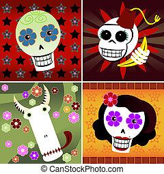 Festive Skulls - Four festive skulls on four different...
