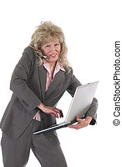 Business Woman Multitasking With Cellphone and Laptop 5 -...