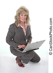Business Woman At Work On Laptop