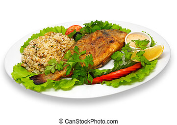 grilled rock-fish - whole grilled rock-fish, with rice and...