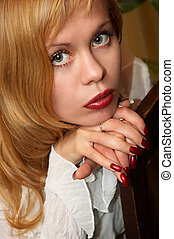 young pretty girl - young attractive blonde girl in casual...