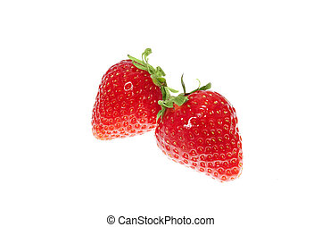 two strawberries - two vibrant red strawberries isolated on...