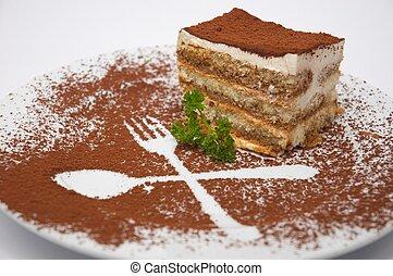 tiramisu dessert 1 - tiramisu dessert served on plate with...