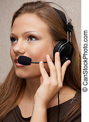 customer support - Pretty customer support girl with...