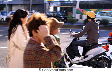 """City life - \\\""""Live\\\"""" aspect at a pedestrian crossing in..."""