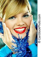 hermoso, azul, navidad