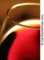 a glass red wine, close up