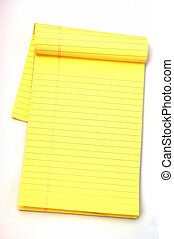 Yellow Notepad - Yellow Note pad against a white background...