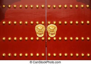 Red Door - A traditional red door at Temple of Heaven in...