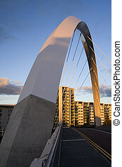 clyde arc - The supporting arch of the Clyde Arc bridge in...