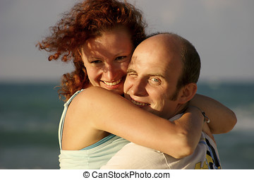 Man and wife - a portrait of a pair. happy man and woman