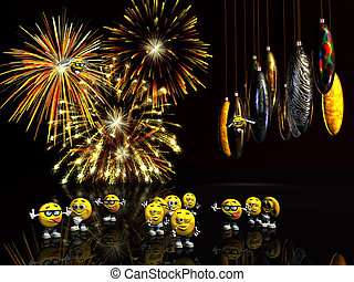Xmas, new years card, fireworks with baubles on wire. -...
