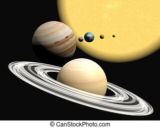 The solar system, abstact presentation. - Abstract 3D...