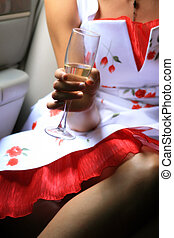 Wine glass in hand-2 - Wine glass whith champagne in hand of...