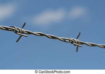 Barbed wire - Metal barbed wire in closeup