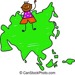 asian kid - little happy ethnic boy standing on map of asia...