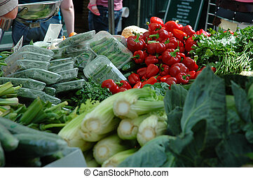 Vegtables - a variety of vegetables in a market